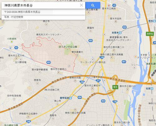 厚木市長谷付近の地図
