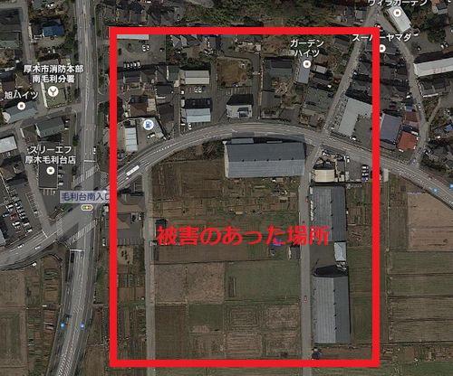 竜巻の発生場所、毛利台南入口交差点付近で被害が多かった。