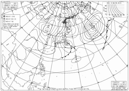 2月18日午前9時の予想天気図