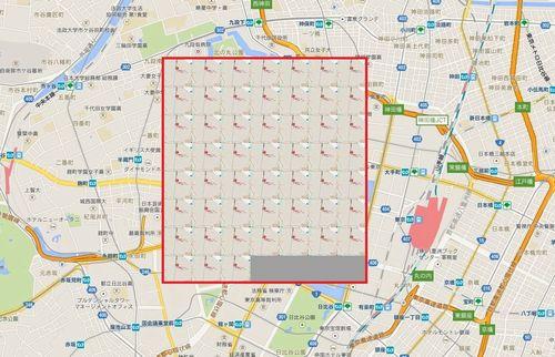 皇居周辺と東京ドーム52個分の比較