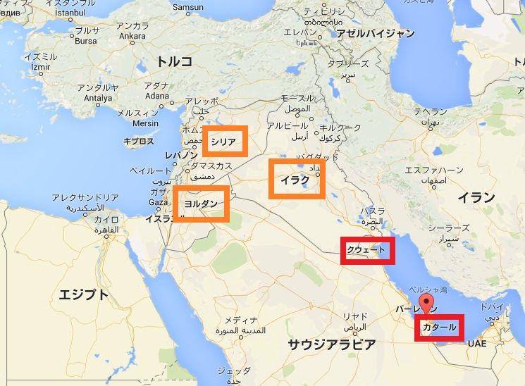 クウェート、カタールなどを含む中東の地図