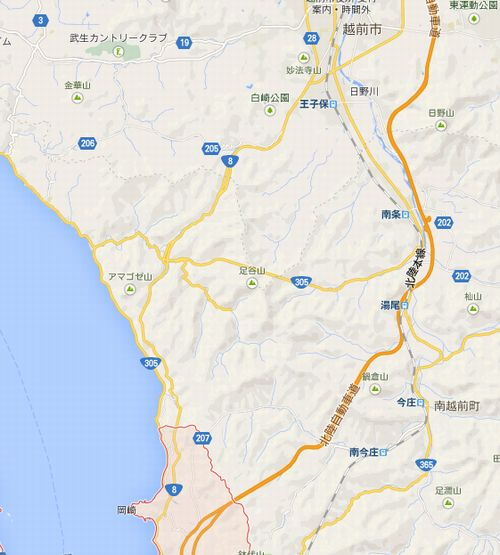 国道8号線の地図