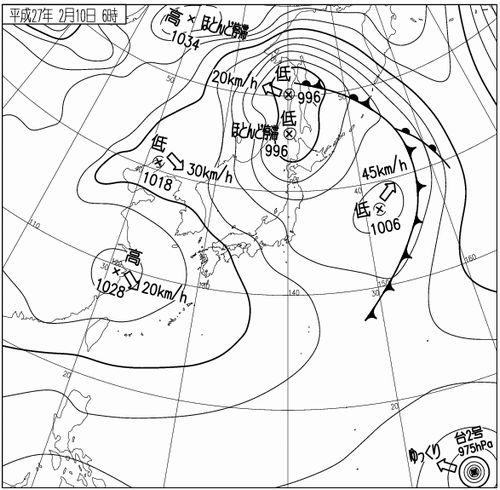 2月10日午前6時の天気図