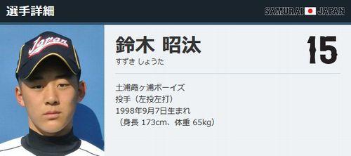 鈴木昭汰投手、U15日本代表のプロフィール