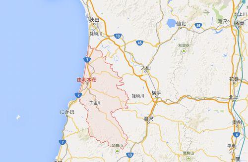 秋田県由利本荘市の地図