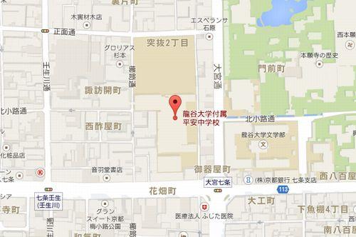 龍谷大平安の地図