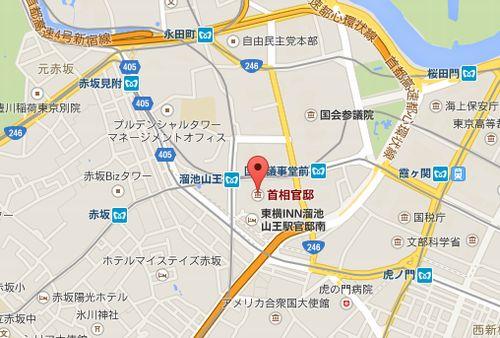 首相官邸周辺の地図