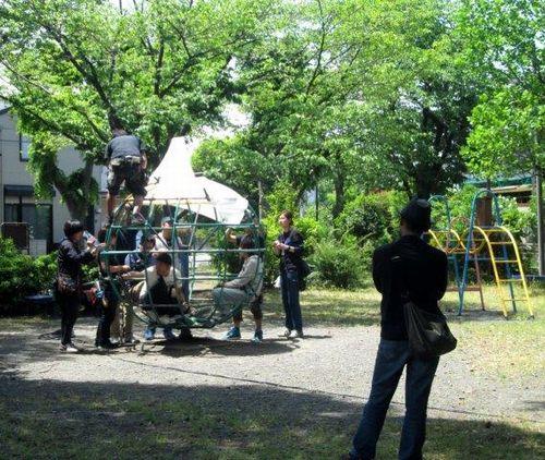 金掘公園での撮影の様子