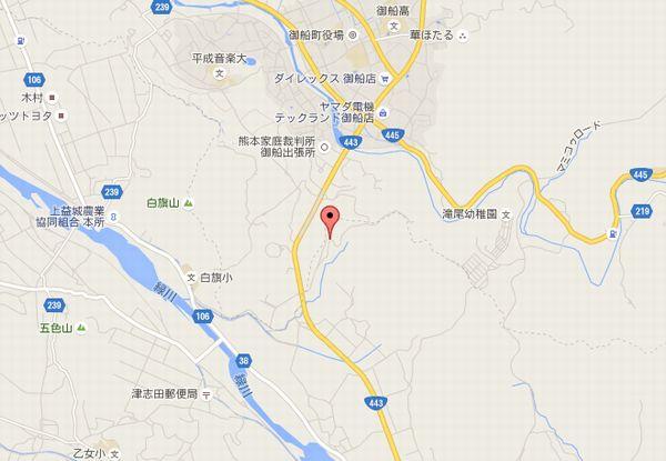 熊本県益城町で震度7を観測した地震の震源地