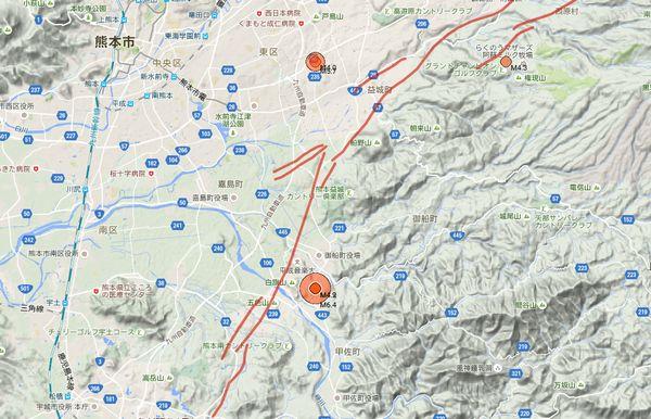 活断層と震源の場所の関係図