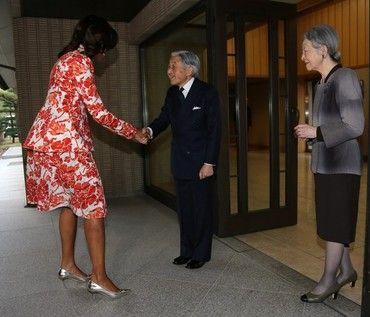 ミシェル・オバマ来日時天皇陛下へ挨拶